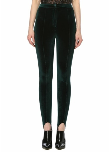 Sister Jane Yüksek Bel Kadife Pantolon Yeşil
